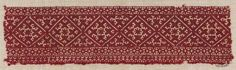Embroidery fragment      Moroccan   Dimensions      Overall: 11 x 42 cm (4 5/16 x 16 9/16 in.)  Medium or Technique      Cotton and silk; embroidery  Classification      Textiles   Accession Number      22.248