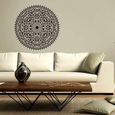 On the ceiling - Mandala-wall-stencil-decal-round-ornament