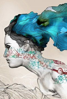 Artist: Gabriel Moreno {contemporary figurative female head profile woman face portrait illustration}