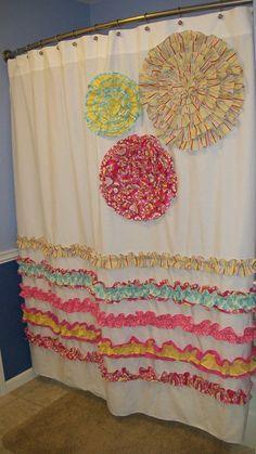 Shower Curtain Custom Made Kumari Garden Designer Fabric Ruffles and Flowers Pink, Blue, Yellow, Green Stripes. $149.00, via Etsy.