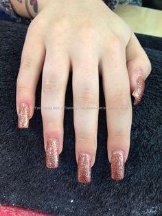 Acrylic nails, rose gold glitter