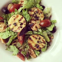 Grilled zucchini salad with fresh basil