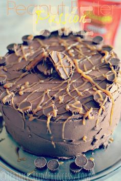 Chocolate and Peanut Butter Layer Cake with a Peanut Butter Drizzle.