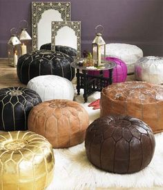 Large Moroccan Leather Pouffes