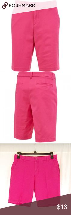 """Pink """"Roughin' It"""" Bermuda Shorts """"Roughin' it bermuda"""" Women's Active Lifestyle series  Color = Pink Yarrow  Single button and zip fly.  GOLF / ACTIVE / WARM WEATHER / OUTDOOR / BERMUDA SHORTS  Great condition with no pilling or holes.  There is a slightly faded look to these, but that is actually the way they appear new as well (see pics).  Approximate measurements (taken flat): Waist =- 16"""" Inseam = 10"""" Front Rise = 9.75"""" Leg Opening = 9.5"""" bcg Shorts Bermudas"""