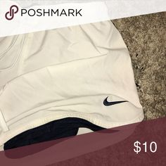 White Nike shorts Shorts in great shape. Built in Spanish are navy. Barely worn. Nike Shorts