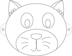 Cat Mask printable coloring page for kids