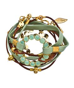 Sara Designs Gold and Leather Sea Foam Wrap Bracelet