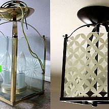 Turn a dated brass foyer light into a classy circle patterned beauty