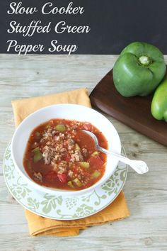 Slow Cooker Stuffed Green Pepper Soup ~ Ingredients: *1 lb. ground beef *3 diced green peppers *4 cups beef broth *2 cups chicken broth *2-14 oz. cans diced tomatoes w/ basil, garlic & oregano *3-8 oz. cans tomato sauce *1 cup brown rice (NOT INSTANT) *Salt & Pepper to taste. Instructions: Brown ground beef & season well with pepper & salt. Once cooked, drain your ground beef & add to your slow cooker. Next add remaining ingredients. Stir. Set your slow cooker on LOW for 6 HOURS.