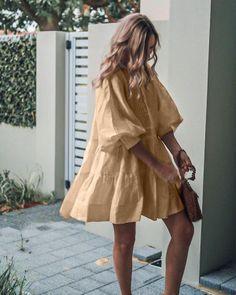 Temperament Khaki V-Neck Balloon Sleeve Ruffle Splice Mini Dress Casual Summer Dresses, Modest Dresses, Cute Dresses, Dresses For Work, Smocked Dresses, Casual Dress Outfits, Wrap Dresses, Sweater Dresses, Sleeve Dresses