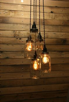 5 Jar Pendant Light - Mason Jar Chandelier Light 3' Hang Down- Quart Mason Jar Hanging Pendant Light