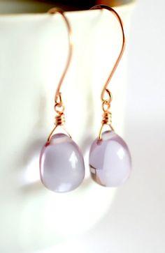 Rose gold earrings rose gold jewelry purple