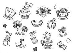 Cute Doodles Disney Alice In Wonderland Kritzelei Tattoo, Doodle Tattoo, Poke Tattoo, Tattoo Drawings, Flash Art Tattoos, Body Art Tattoos, Mini Tattoos, Small Tattoos, Alice In Wonderland Drawings
