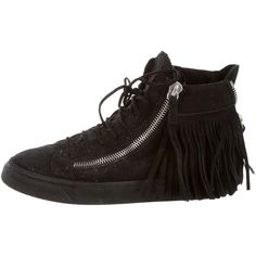Giuseppe Zanotti High-Top Sneakers ($275) ❤ liked on Polyvore featuring shoes, sneakers, black, black high tops, black trainers, suede shoes, high top zipper sneakers and zipper sneakers