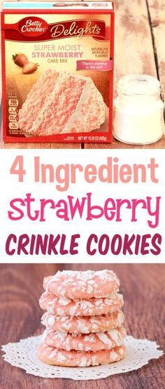 Crinkle Cookies Recipe Easy Cookie with Strawberry Cake Mixes Sweet tooth ! The post Crinkle Cookies Recipe Easy Cookie with Strawberry Cake Mixes Sweet tooth ! appeared first on Dessert Park. Cake Mix Cookie Recipes, Dessert Recipes, Cake Recipes, Dinner Recipes, Strawberry Cake Mix Cookies, Strawberry Cupcake Recipe Using Cake Mix, Crinkle Cookies Cake Mix, Brownie Cookies, Biscuit Recipe