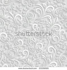 Vector Floral 3d Seamless Pattern Background. For Christmas and Invitation cards decoration - stock vector