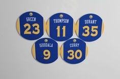 Golden State Warriors Jersey Magnets set: Curry Thompson Durant Green Iguodala $10 #GoldenStateWarriors #nba Golden State Warriors, Nba, Magnets, Curry, Basketball, Green, Gifts, Curries, Presents