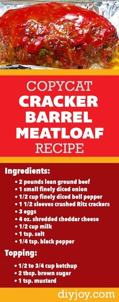 Hamburger Recipes, Meatloaf Recipes, Ground Beef Recipes, Meat Recipes, Cooking Recipes, The Best Ever Meatloaf Recipe, Crockpot Recipes, Chicken Recipes, Snack Recipes