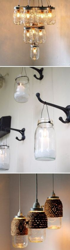 glass jar lanterns and chandeliers DIY....think I will wrap the one in my kitchen with the rope..
