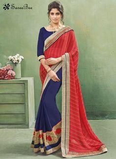 Congenial Navy Blue and Red Designer Half N Half Saree  For More Information WhatsApp 7202080091 Or Visit www.SareeBe.com #red #designer #kurti #fashionista #makeup #UK #outfitoftheday #women-fashion #model #indian #saree #ramadanmubarak #ethnic #picoftheday #cool #summer-style #streetstyle #beauty #styles #rakshabandhan #rakshabandhangift