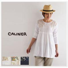 【caliner カリネ】異素材 切替 花刺繍 チュニック ワンピース (1151108)