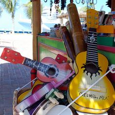 souvenir stand, Cozumel, Mexico ~ cruise ship outlined in the background