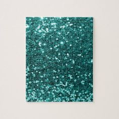 Chic Teal Faux Glitter Jigsaw Puzzle - trendy gifts cool gift ideas customize