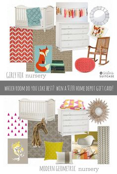 Girl Nursery Inspiration... which room do you like best? Cast your vote for a chance to win $100 Home Depot Gift Card! sisterssuitcaseblog.com #homedepot #softspringcarpet