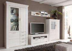 Wohnwand Landhaus Country Landhausmöbel Holz Pinie Massiv Weiß 8767