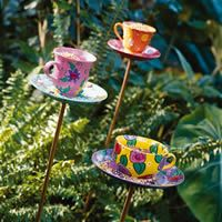 Several Birdwatcher's Cup of Tea  Settle down with your favorite beverage and peek through the window to watch feathered friends enjoy a treat from colorful cup-and-saucer bird feeders.