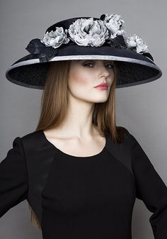 Rachel Trevor Morgan Millinery Autumn Winter 2015 R15W8 Navy straw hat with grey hand made toned roses