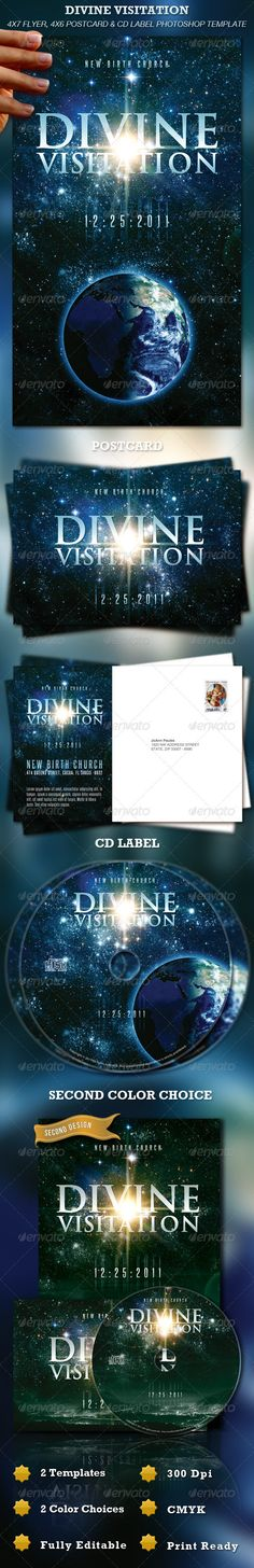 PSD Divine Visitation Flyer, Postcard & CD Label  Template • Only available here ➝ http://graphicriver.net/item/divine-visitation-flyer-postcard-cd-label/806858?ref=pxcr
