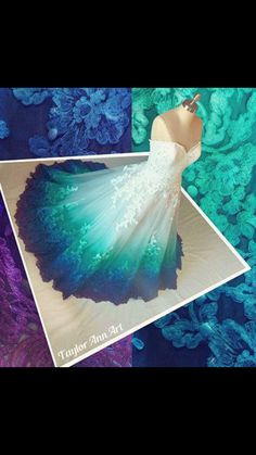 Hot Sale Glorious Ombre Prom Dresses, Long Prom Dresses, Lace Prom Dresses, A-Line Prom Dresses Peacock Wedding Dresses, Dip Dye Wedding Dress, Ombre Prom Dresses, Peacock Dress, Wedding Gowns, Peacock Colors, Bridal Gowns, Hair Wedding, Long Dresses