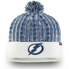 Women s Tampa Bay Lightning Fanatics Branded White Iconic Ace Cuffed Knit  Hat with Pom 992455bc2