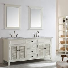 Evocative of West Indies style, this Vanity collection brings refined simplicity to your bathroom space. Louvered doors add character and distinction to this intriguing piece, which is topped with a counter top made of sculpture-quality marble. Featuring generous cabinet room and a protective backslash, this collection is as practical as it is stunning. Coordinate perfectly with your tastes and home decor.