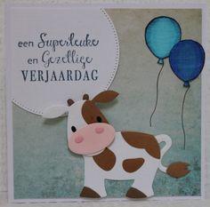 Gemaakt door Joke # kinderkaart met koe - voor Marijn Spellbinders Cards, Marianne Design, Paper Piecing, Scrap, Projects, Ideas, Animal Cards, Men, Cow