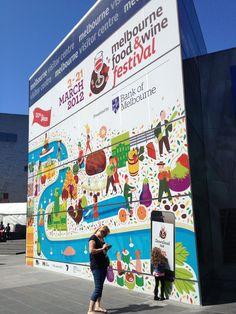 Advertising outside Melbourne Visitors Centre, Melbourne Food and Wine Festival 2012, Melbourne, Australia.