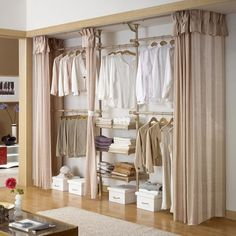 18 Tidy Curtain Closet Doors To Conquer The Mess is part of Closet curtains - Curtains are a nice accessory to add to your home, but only until recently they were not even considered as a replacement of closet doors This has Curtains For Closet Doors, Bedroom Closet Doors, Bedroom Closet Design, Bedroom Wardrobe, Closet Designs, Curtain Closet, Curtain Wardrobe Doors, Kids Clothes Storage, Closet Storage
