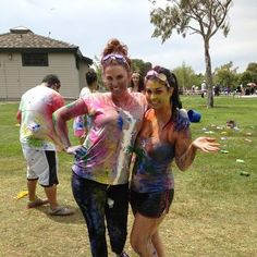 water balloons filled with paint, bags of powdered color, water guns, colored slime, and balls to dip in paint and throw.