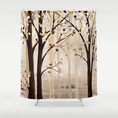 Art Shower Curtain Brown Beige Cream Abstract Tree Nature Unique Bathroom