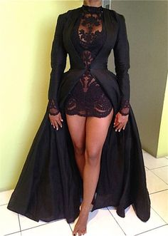 Sexy High Collar Black Lace Evening Dress New Arrival Long Sleeve Detachable Plus Size Dresses