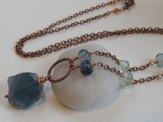 """Rainbow Fluorite Large Nugget Pendant Necklace, Ocean Blue Semiprecious Gemstone, Wire Wrapped Fluorite Jewelry, 24"""" Antique Copper Chain"""
