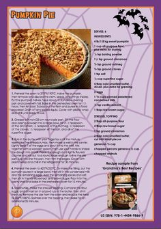 Looking for the perfect dessert for Halloween tomorrow? Today's spook-tacular recipe is a delicious Pumpkin Pie from Love Food Cookbook Grandma's Best Recipes!