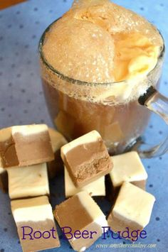 Root Beer Fudge with a light taste or heavy. Great for Christmas, Thanksgiving, Easter, birthday, any holiday or time of the year. I get my root beer concentrate at Walmart. Köstliche Desserts, Delicious Desserts, Dessert Recipes, Yummy Food, Plated Desserts, Fudge Recipes, Candy Recipes, Sweet Recipes, Fudge Flavors
