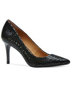 Calvin Klein Women's Gayle Pointed Toe Pumps SILVER snake print!