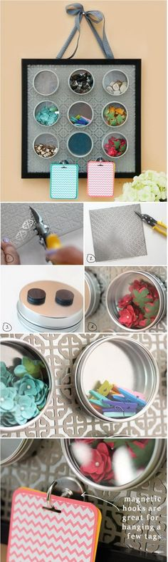 DIY Magnetic Embellishment Board. Keep the overflowing collection of embellishments, like buttons, beads, brads, eyelets, etc organized and easy to find when you need next time in these magnetic spice canisters.