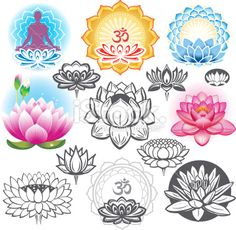 Set of lotuses and esoteric symbols Royalty Free Stock Vector Art Illustration