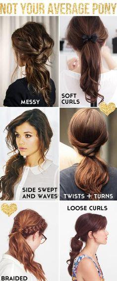 different ponytails.