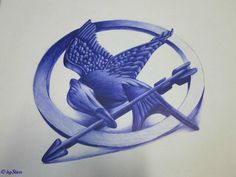 Hand-drawn mockingjay pin by @Stien_12 on Twitter